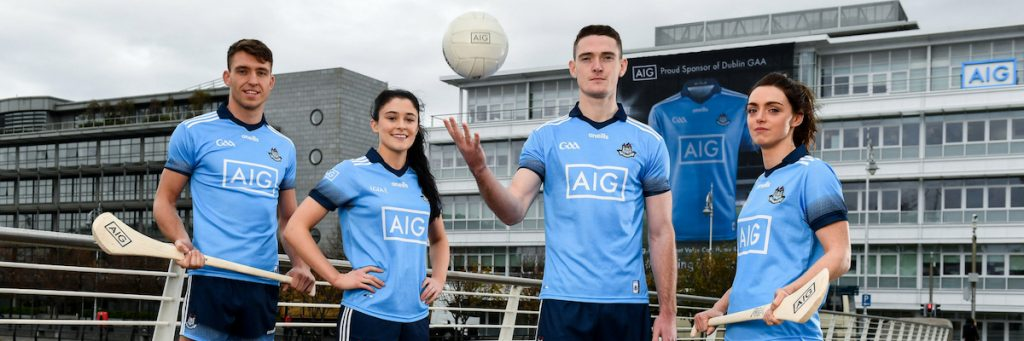 91316191e00 To mark the launch of the new jersey AIG have wrapped its building in a  giant version of the new look jersey. The Dublin GAA ...