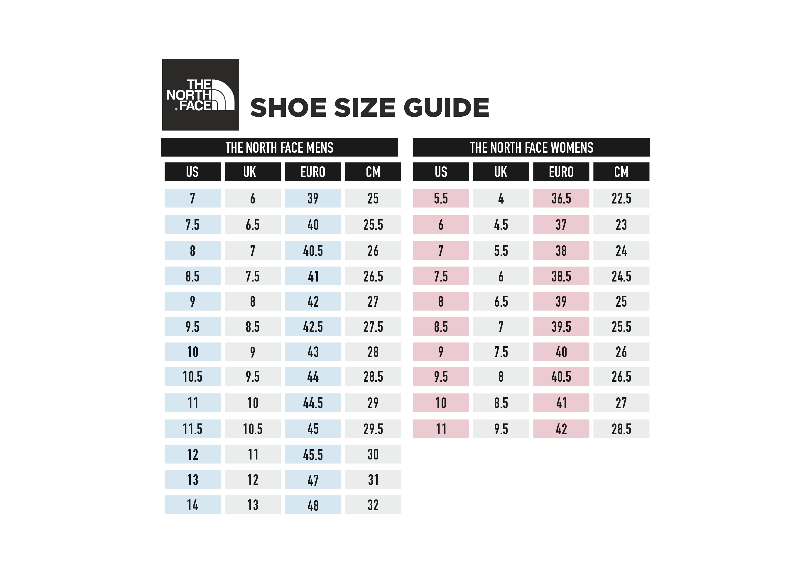 The North Face Shoe Size Guide