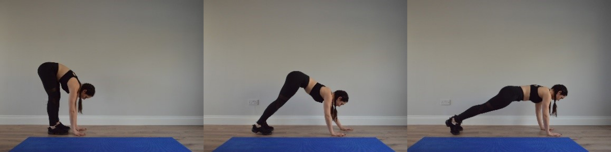 walking forward on hands into press up position, fitness routine