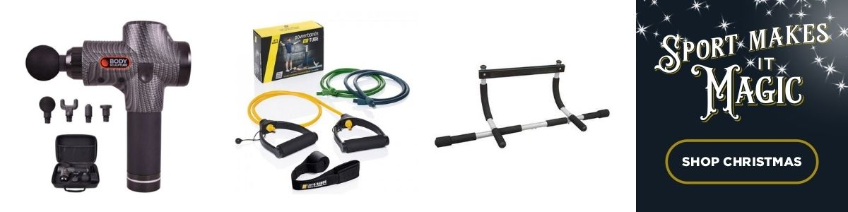 3 Product images - Shop massage gun , resistance bands and body gym