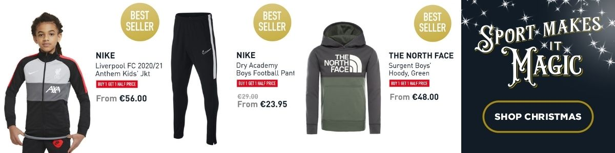 3 PRODUCT SHOTS - NIKE LIVERPOOL JACKET, NIKE PANT AND THE NORTH FACE HOODY - SHOP CHRISTMAS
