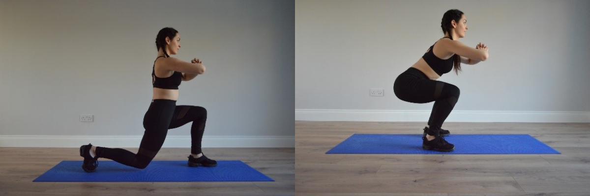 Fitness model performing squat and lunge exercise at home